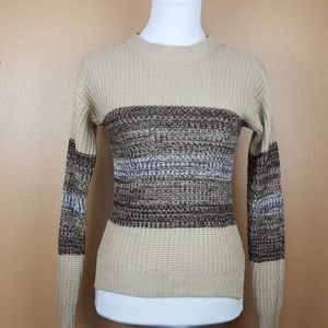 🌟 Hype Knit Vintage Crew Neck Sweater Cream Brown